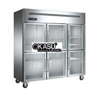 Tủ đông mát 6 cánh kính Okasu G-1.6L6